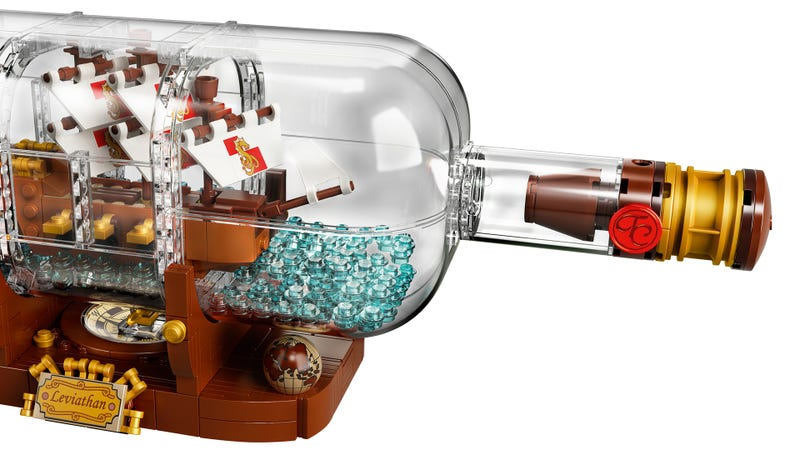 Illustration for article titled Building A Lego Ship In A Bottle Seems Pretty Easy