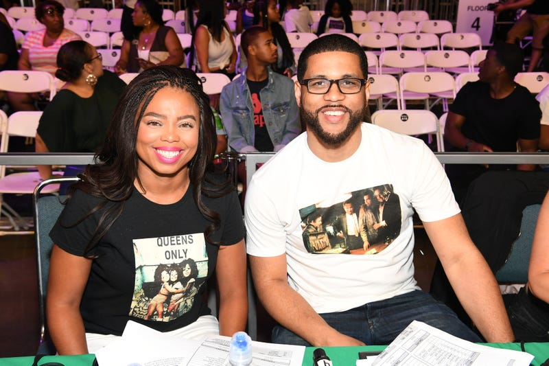 Jemele Hill and Michael Smith in Los Angeles on June 24, 2017  (Paras Griffin/Getty Images for BET)