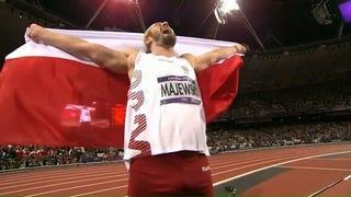 Illustration for article titled Polish Shot Put Gold Medalist's Celebration Nearly Interrupts Women's 10K Final, Ends In Evil Laugh