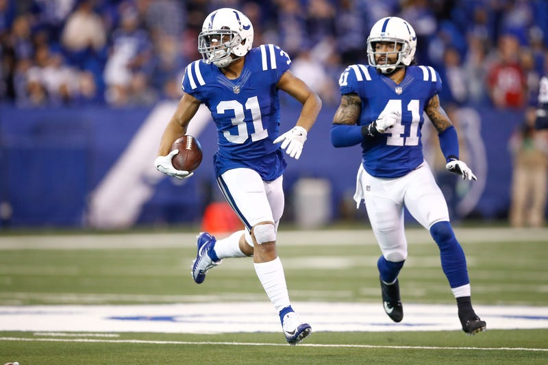 Quincy Wilson, No. 31, of the Indianapolis Colts runs with the ball after an interception against the Houston Texans at Lucas Oil Stadium in Indianapolis on Dec. 31, 2017. (Andy Lyons/Getty Images)