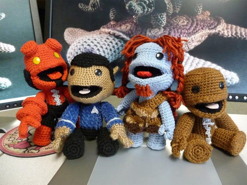 Illustration for article titled Custom Crocheted Sackboys Defy Logic