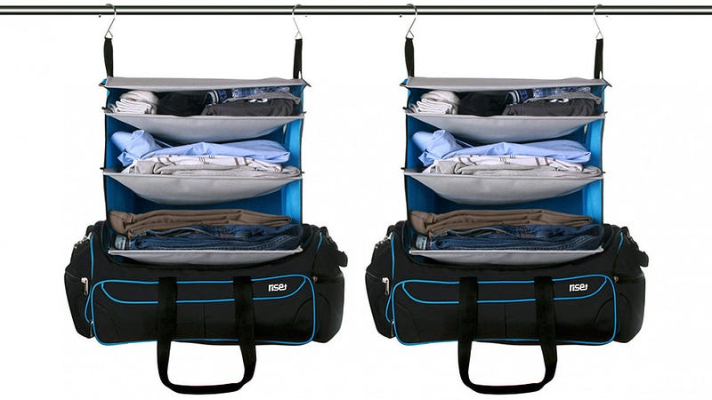 Illustration for article titled The Perfect Weekend Bag Transforms Into a Pre-Stocked Hanging Shelf