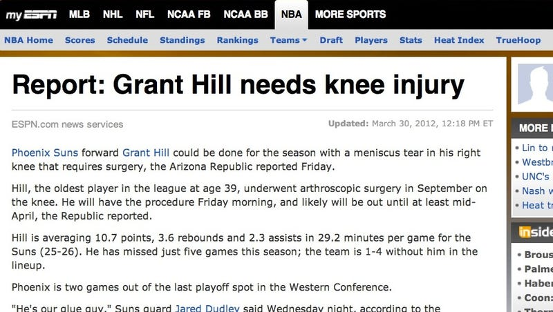 Illustration for article titled ESPN Headline Writer Unintentionally Encapsulates Grant Hill's Career