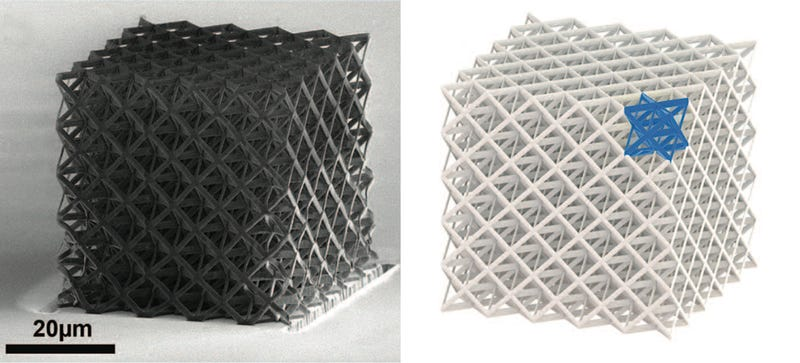 Illustration for article titled New Ultralight Ceramic Cubes Can Be Squished and Recover Like a Sponge