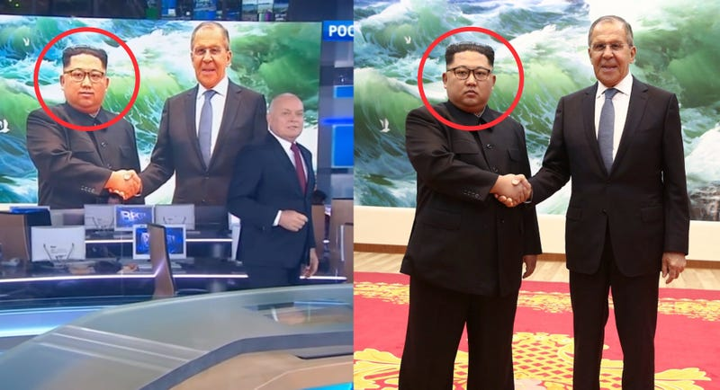 Screenshot from the Kremlin backed TV network Russia-1 on June 3, 2018 (left) Photo from Russia's Ministry of Foreign Affairs showing Kim Jong Un and Sergey Lavrov on May 31, 2018 (right)
