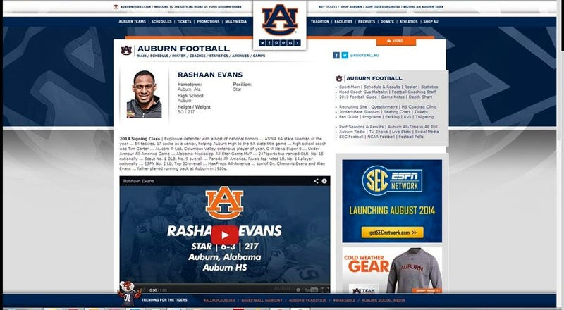 Illustration for article titled Auburn Website Posts Bio For Top Recruit Who Just Committed To Alabama
