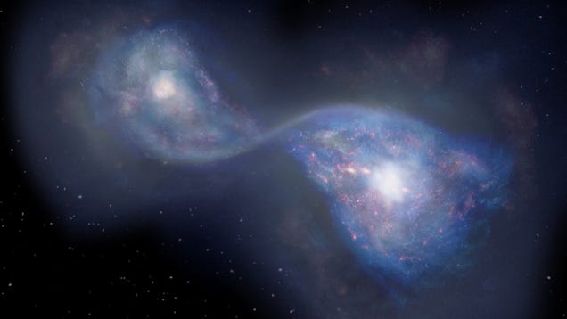 Astronomers Peer Back 13 Billion Years and See Two Galaxies Colliding