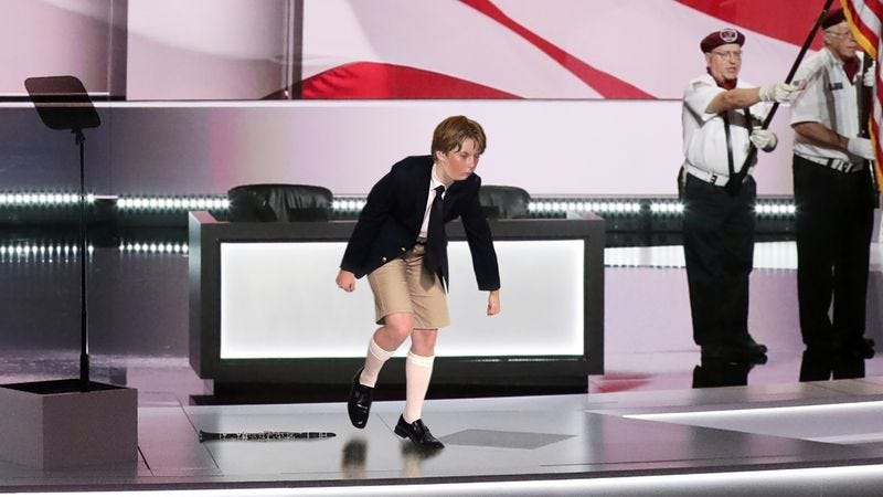 Illustration for article titled Barron Trump Sprints Off Convention Stage In Tears After Missing Note During Clarinet Solo Performance