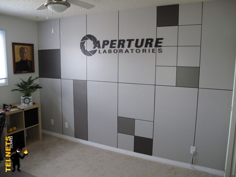 Man turns office into aperture science waiting room for Man u bedroom accessories