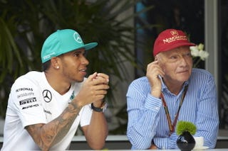 "Illustration for article titled Niki Lauda Called Lewis Hamilton ""Unbeatable"""