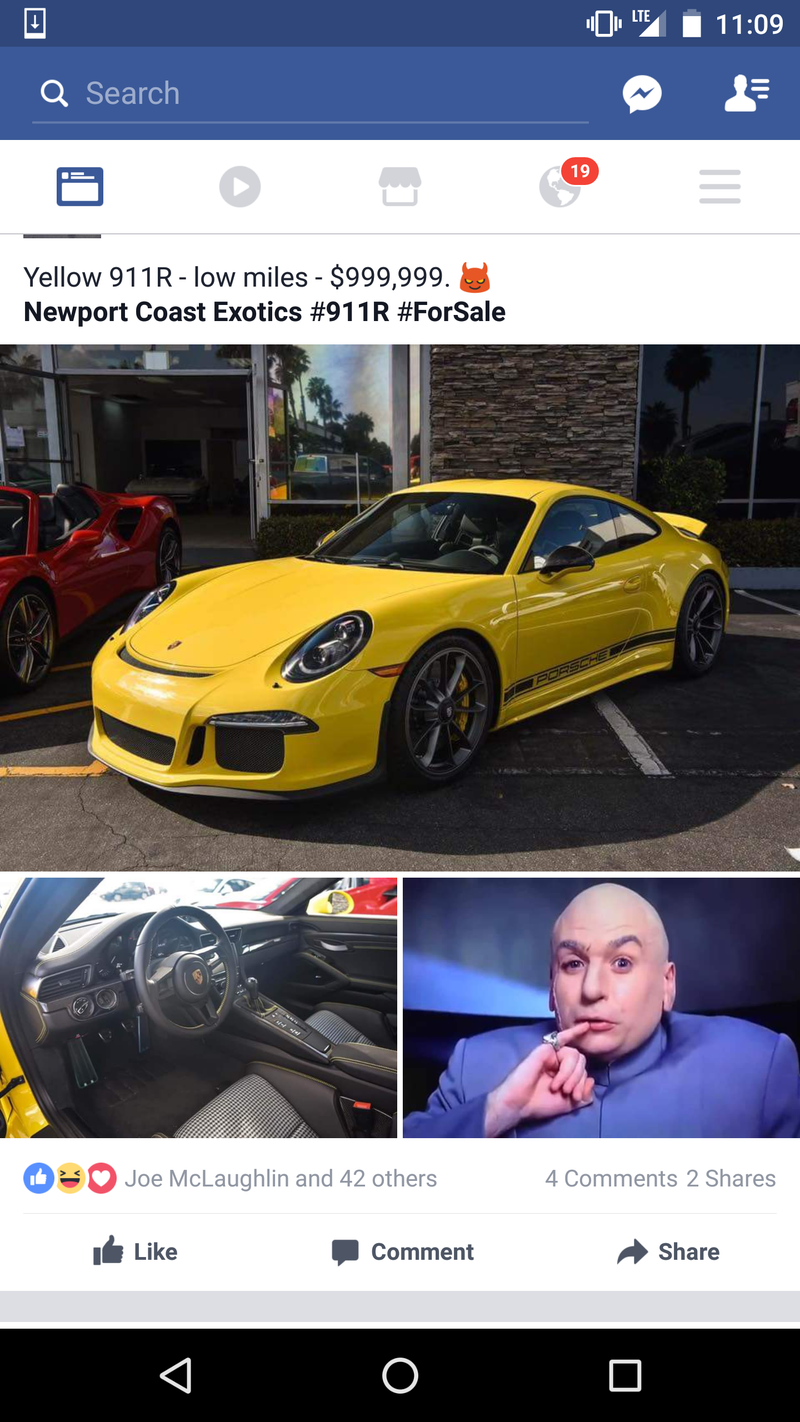 Illustration for article titled Nice price or crack pipe: $1,000,000 (almost) 911R edition