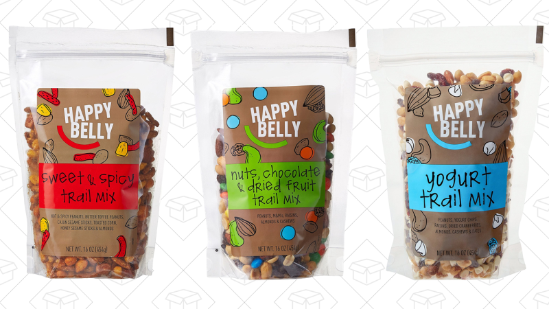 Happy Belly de chocolate y frutos secos, $5Happy Belly dulce y picante, $7Happy Belly de yogurt, $6