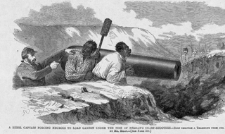 "Caption: ""A rebel captain forcing negroes to load cannon under the fire of Berdan's sharp-shooters—seen through a telescope from our lines, and sketched by Mr. Mead.""Cover of Harper's Weekly May 10, 1862"