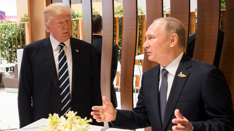 In this photo provided by the German Government Press Office (BPA), Donald Trump, President of the USA (C) meets Vladimir Putin, President of Russia during the G20 Summit on July 7, 2017 in Hamburg, Germany.
