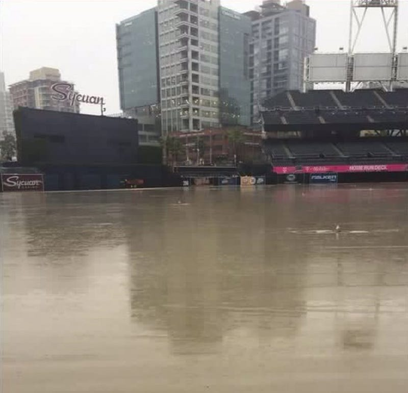 It does rain in California: Padres Petco Park is totally flooded