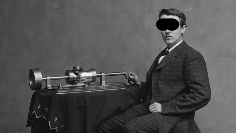 Thomas Edison wearing his favorite sleeping mask. Okay, I added that...