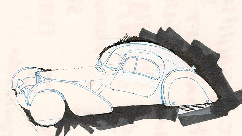 "Illustration for article titled '36 Bugatti Type 57SC ""Atlantic"": Sketched, II"