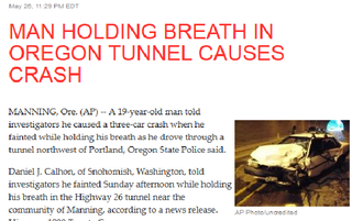 Illustration for article titled Man Holding Breath in Tunnel Causes Crash