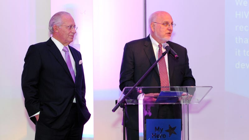 Newly appointed CDC chief Robert Redfield, right, giving a speech during the Aid for AIDS My Hero Gala held in 2013.