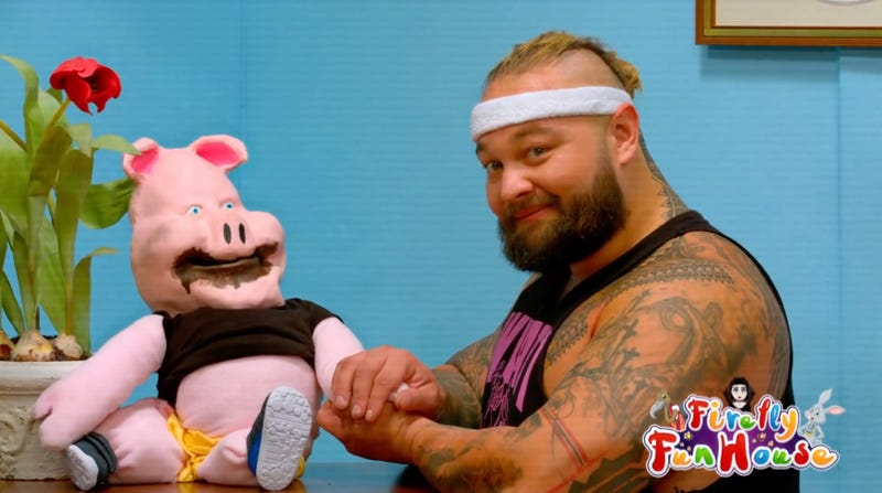 Huskus the Pig Boy and Bray Wyatt on a Very Special Episode of Firefly Fun House.