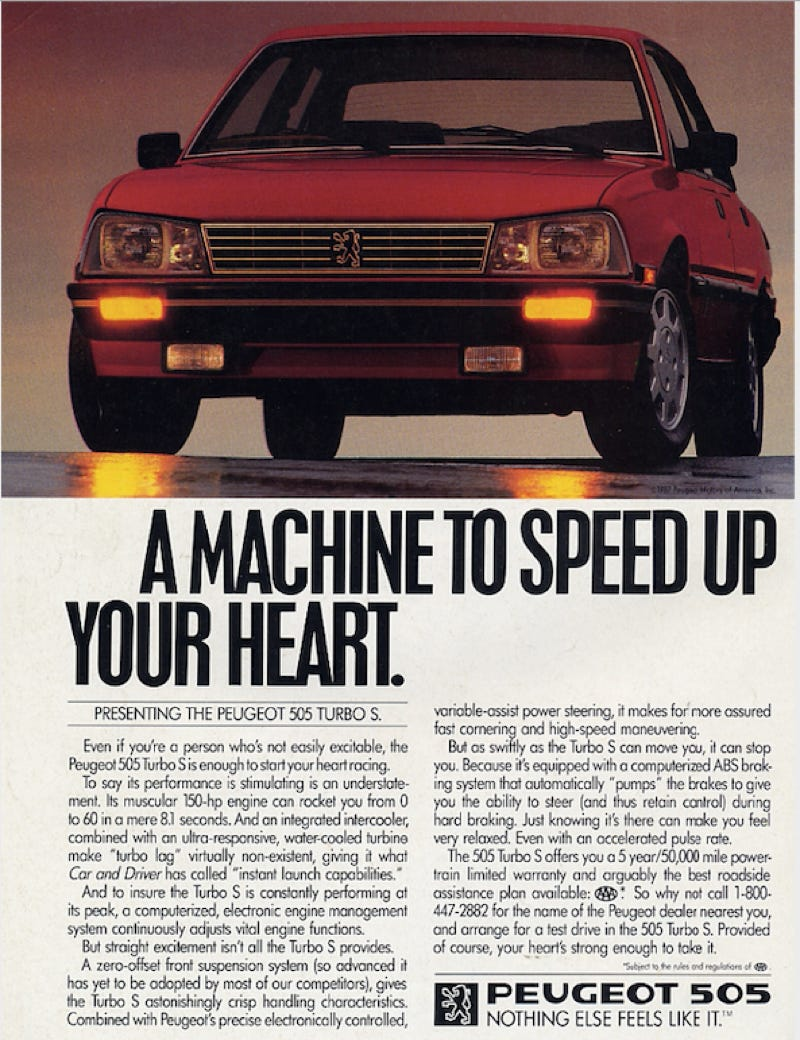 Yesterday we wrote about how Peugeot is trying to get back in on the U.S. Market, so here's an adver