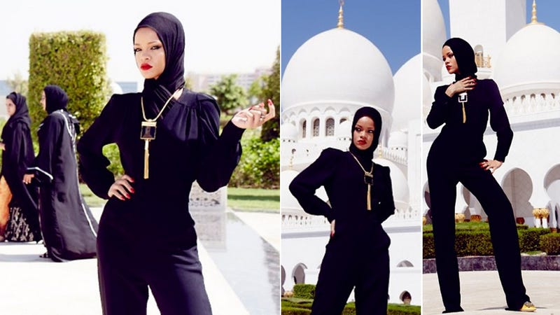 Illustration for article titled These Are the Pictures That Got Rihanna Kicked Out of a Mosque