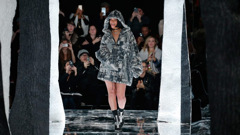Rihanna modeling her Fenty for Puma collection at Fashion Week