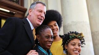 Bill de Blasio, Chirlane McCray, son Dante de Blasio and daughter Chiara de Blasio after voting at a public library branch on Election Day, Nov. 5, 2013, in the Brooklyn borough of New York CitySpencer Platt/Getty Images