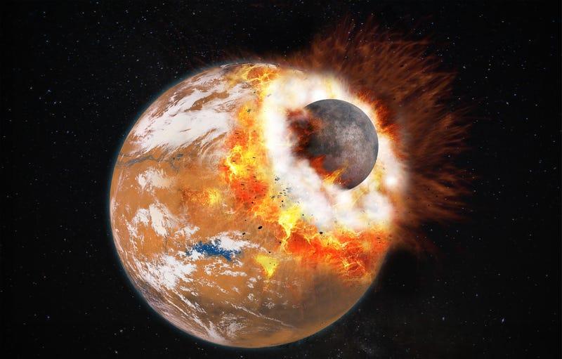 Imagen: Ilustración de una colisión en Marte / vía: Labex UnivEarths / Université Paris Diderot.