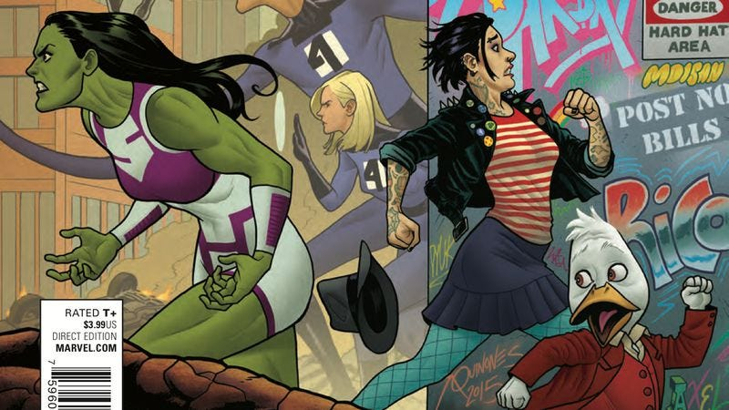 Illustration for article titled Exclusive Marvel preview: Heroes unite against The Abundant Glove in Howard The Duck #5