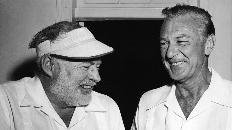 Author Ernest Hemingway (left) with his friend actor Gary Cooper in Havana, Cuba in 1956 (Photo by Hulton Archive/Getty Images)