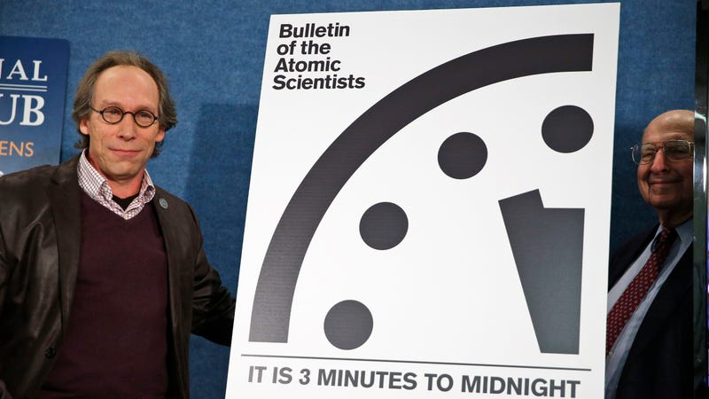 Lawrence Krauss, seen above (left) during a conference held by the Bulletin of the Atomic Scientists in 2016, resigned from the organization Tuesday, following allegations of sexual misconduct.