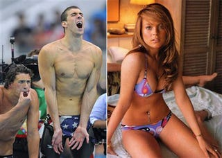 Illustration for article titled Michael Phelps Getting Him Some Lindsay Lohan (OMG, LOL)