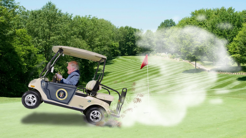 Illustration for article titled New Book Alleges Trump Had a 'Supercharged' Golf Cart to Help Him Cheat at Golf