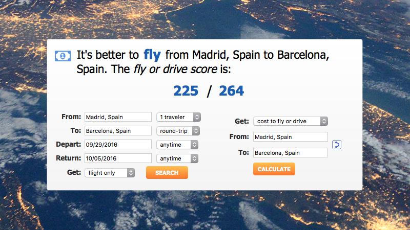 Illustration for article titled Esta web calcula el coste real de viajar entre dos ciudades y decide si es mejor volar o conducir