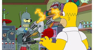 Illustration for article titled Bender Will Be A Bart-Killing Terminator In Futurama/Simpsons Crossover