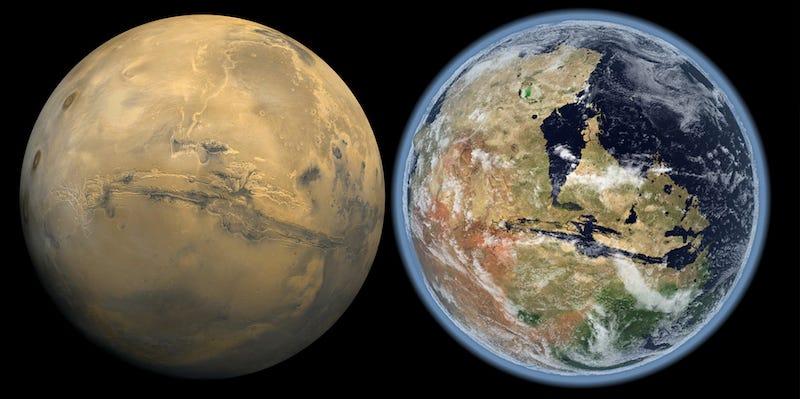 Illustration for article titled Fue el Sol: el viento solar hizo desaparecer la atmósfera de Marte, y con ella sus océanos
