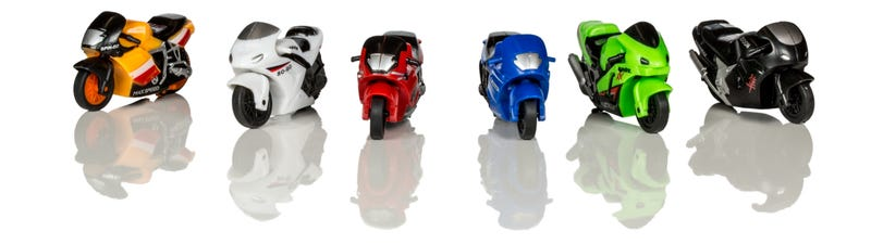Illustration for article titled I can't bloody find toy motorbikes with moulded-in riders.