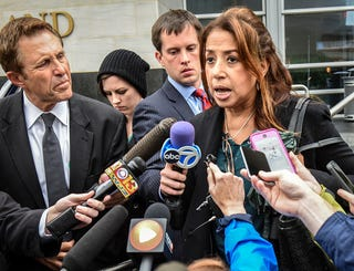 Maria Mena, attorney for one of the accused students, talks to the press as she departs the courthouse on May 5, 2017, in Rockville, Md. (Bill O'Leary/the Washington Post via Getty Images)
