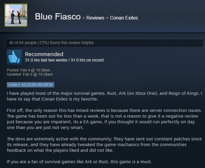 Conan Exiles, As Told By Steam Reviews