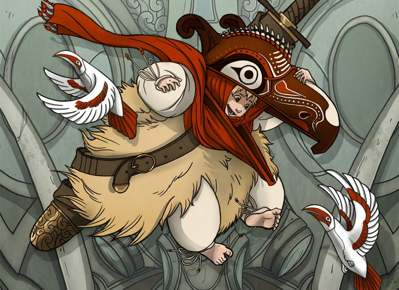 Illustration for article titled Webcomic Bird Boy is filled with ancient weapons and gorgeous monsters