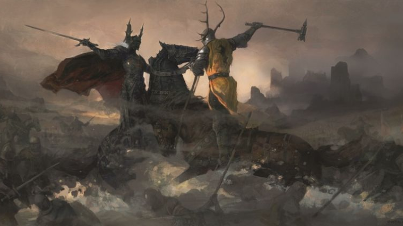 Imagen: Justin Sweet / The World of Ice and Fire (Bantam Books). Robert Baratheon y Rhaegar Targaryen se enfrentan en combate.