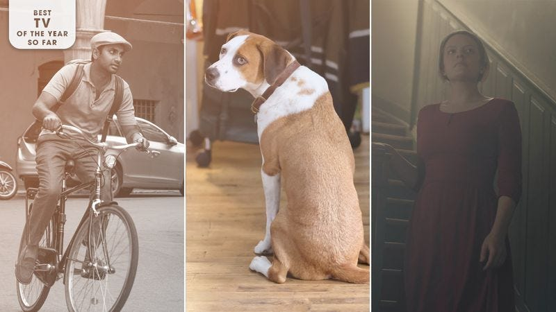 Master Of None (Photo: Ali Goldstein), Downward Dog (Photo: Brian Douglas/ABC), and The Handmaid's Tale (Photo: George Kraychyk/Hulu). Image: Libby McGuire.