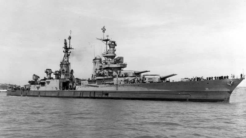 The USS Indianapolis in 1945, taken just 20 days before she was lost with nearly 900 crew members. Credit: US Navy