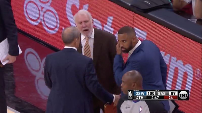 """Illustration for article titled Gregg Popovich Ejected After """"Fucking Terrible Ref"""" Outburst"""
