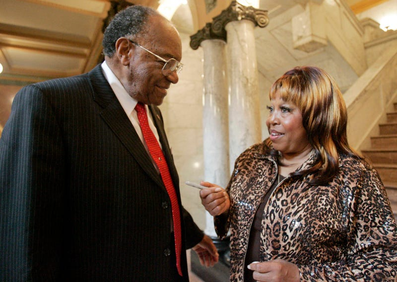 R&B singer Denise LaSalle speaks with state Sen. David Jordan after being honored by the Senate at the Capitol in Jackson, Miss., on Feb. 18, 2009.  (Rogelio V. Solis/AP Images)