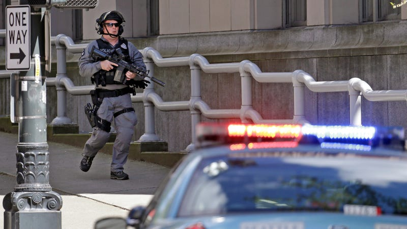 A Seattle police officer responding amid the shooting of several officers in the city's downtown on April 20th, 2017.