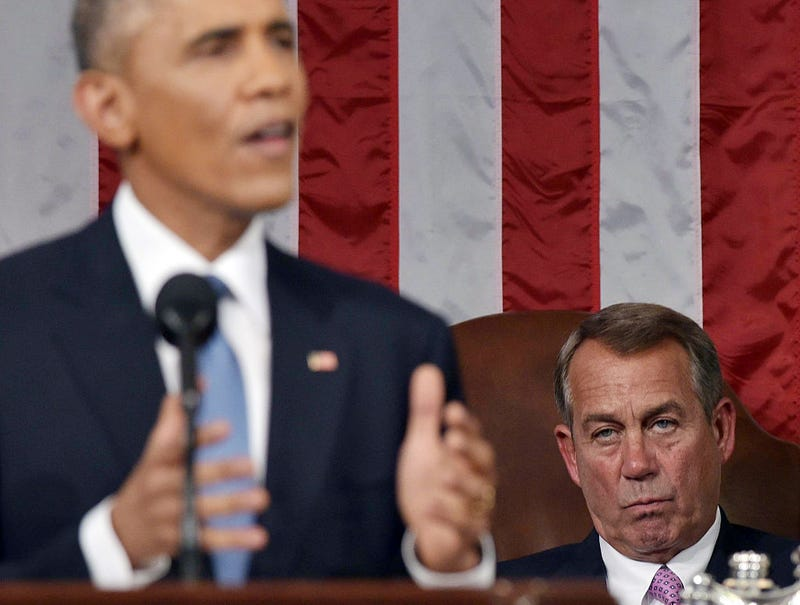 House Speaker John Boehner (R-OH) listens to U.S. President Barack Obama deliver the State of the Union address (Mandel Ngan-Pool/Getty Images)