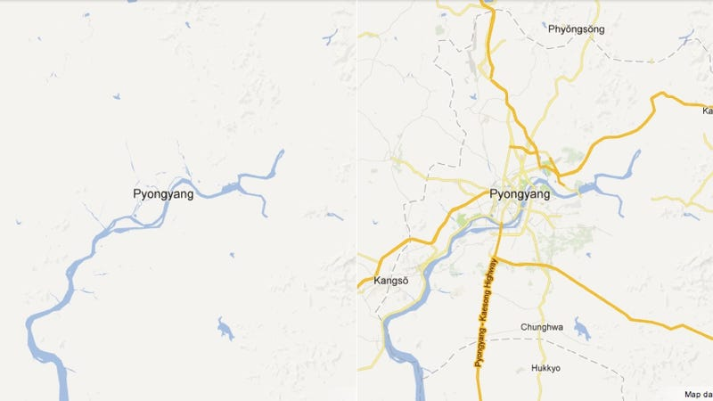 Illustration for article titled North Korea Just Got a Lot of New Roads According to Google Maps