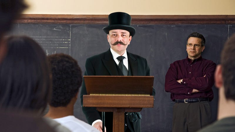 Illustration for article titled An Important Message: This Man With A Top Hat And Twisty Mustache Is Visiting Schools Warning Students About The Dangers Of Piloting Hot Air Balloons Under The Influence Of Dr. Fixit's Vigor-Inducing Delousing Tonic And Quaffable Cure-All